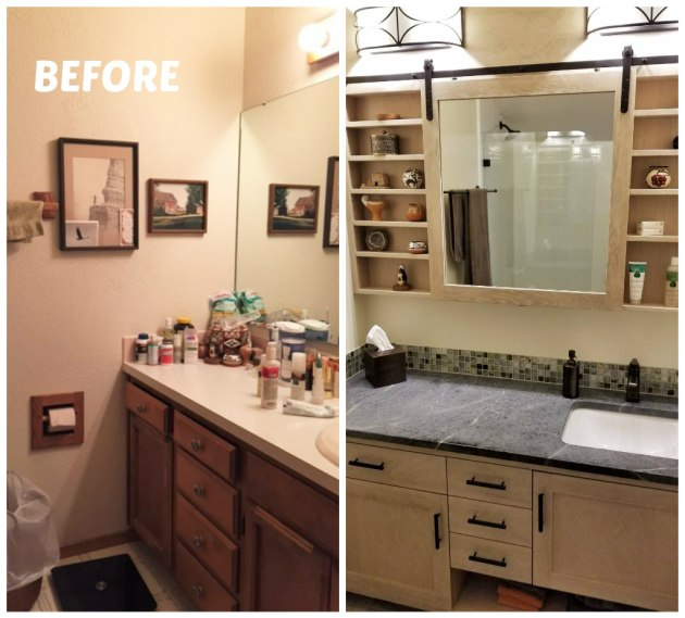 master bath before and after collage